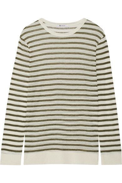 T by Alexander Wang - Striped Jersey Top - Army green - x small