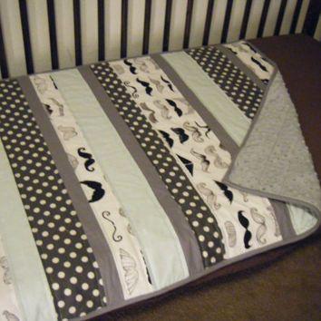 Small Little man mustache baby boy quilt - mint gray charcoal baby blanket - boy mustache minky blanket - modern baby boy strip quilt