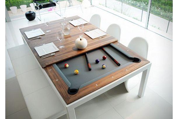 ディナーの後のひとゲームに。 「Fusion Tables」はビリヤード台になるダイニングテーブルです。特殊なポケットを採用することにより厚さ11.4cmに抑えられたテーブルは一見するとビリヤード台だとは思えない薄さ。ダイニングテーブルとして使用する際にはゲームで使用するボールやキューなどをすべて内部に収納することがで...