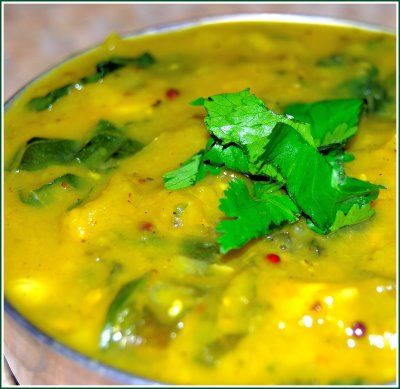 Green Split Peas Dal with Leafy Greens | Holy Cow! Vegan Recipes|Eggless Recipes|Dairy-free Recipes|Indian Recipes