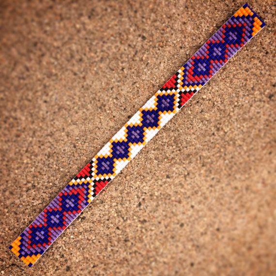 Items similar to Friendship Bead Loom Bracelet Bohemian Boho Artisanal Jewelry Indian Western Beaded Turquoise Red Yellow Orange Bright Colorful Tribal on Etsy