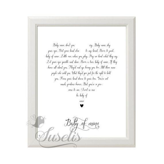 Baby mine Dumbo lyrics Heart Typography Bette Midler by