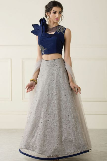f8cd59c80018a2 Grey Net Pearl Embroidered Crop Top Lehenga-GC2588