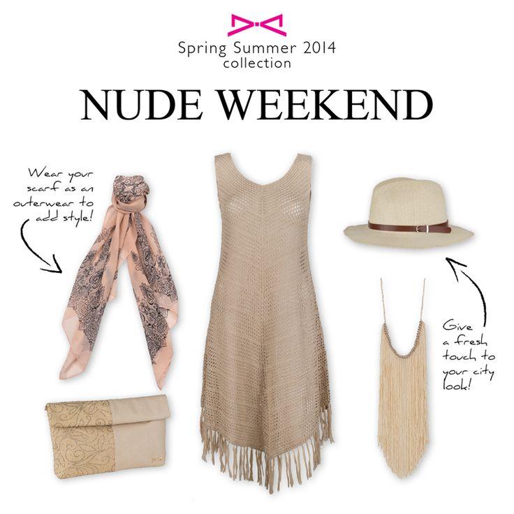 NUDE WEEKEND! Συνδυάστε ρούχα και αξεσουάρ στις ίδιες φυσικές αποχρώσεις για ένα «nude-το-nude» αποτέλεσμα! Μια από τις must τάσεις του καλοκαιριού για αέρινο και κομψό στυλ!