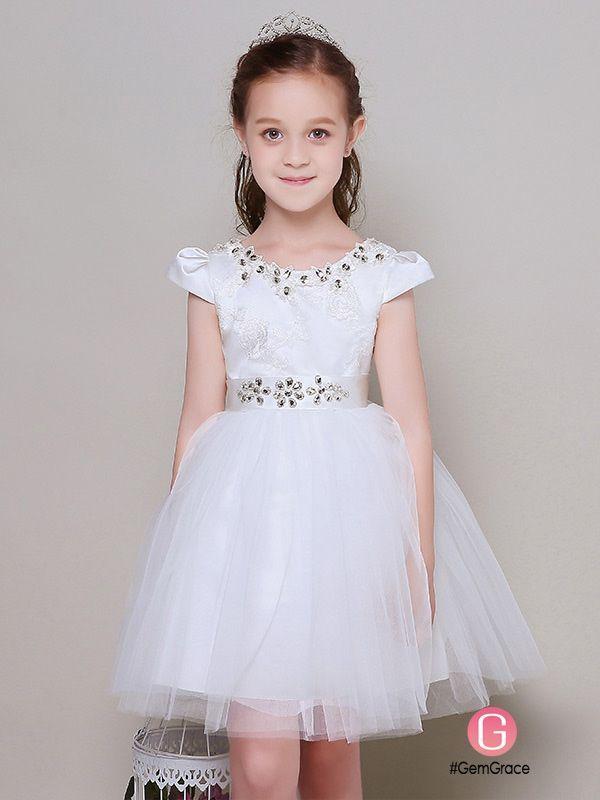 32c42a29e924 Cap Sleeve Crystal Embroidery Short Tulle Flower Girl Dress  EFL30 ...