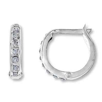 14K White Gold Diamond Fascination™ Hoop Earrings