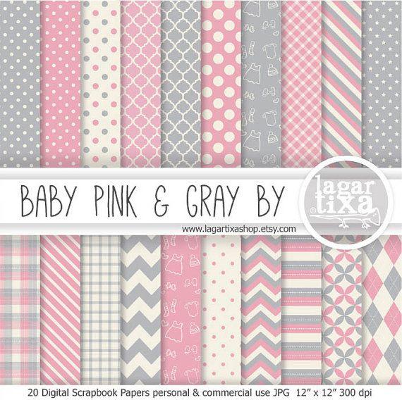 Sfondi Digitale Rosa pallido e grigio per scrapbooking sfondi inviti nascita premaman