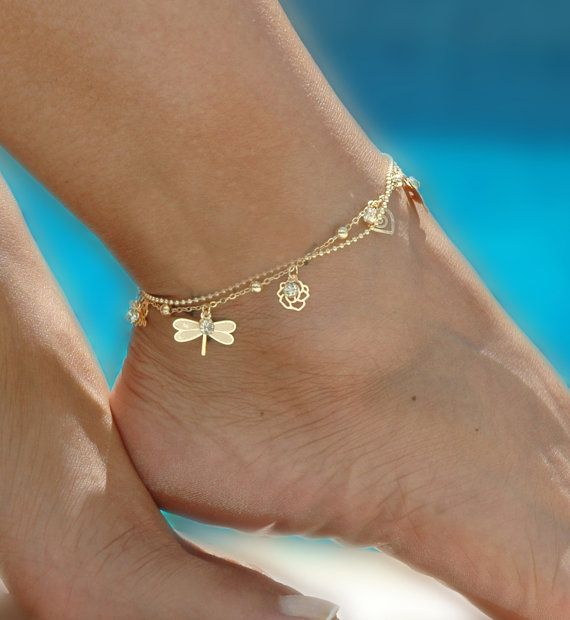 Mystic Double Chain Gold Anklet - Anklet, ankle bracelet, gold ankle bracelet, delicate anklet, summer jewelry, dragonfly, butterfly, Gift under 20