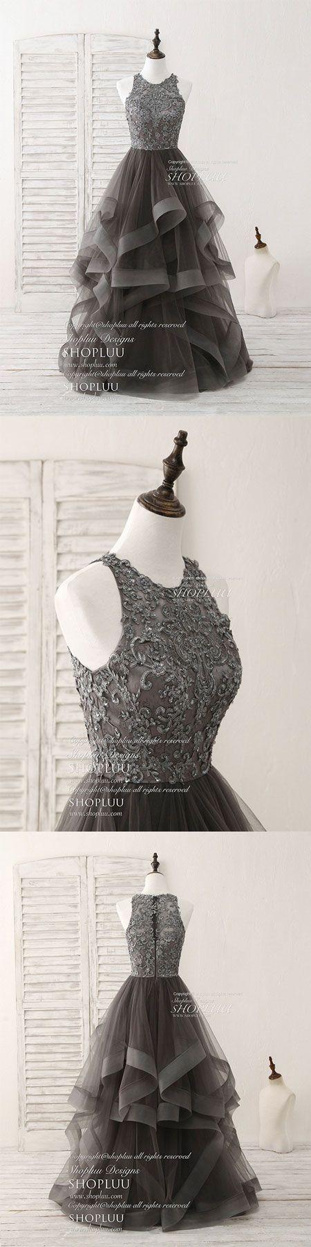 Unique round neck lace applique tulle long prom dresses, gray tulle lace long evening dress