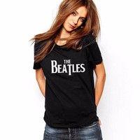Wish | New Design THE BEATLES Print Women Black T-Shirt Tops Tees Camisas Mujer Loose T Shirt Femme
