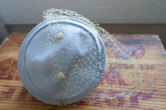1950's Pale Blue Fascinator Hat with Birdcage Veil