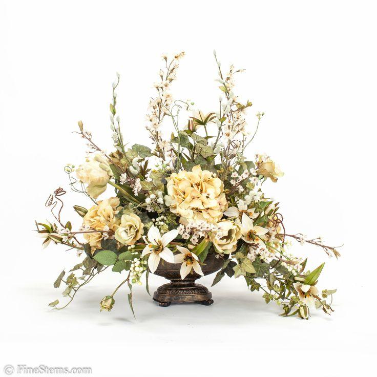 Silk Flower Arrangements Custom Cream Silk Floral
