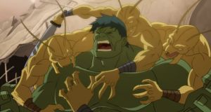 The Hulk is under attack on Planet Hulk  http://family-friendly-movies.com/animated/planet-hulk/