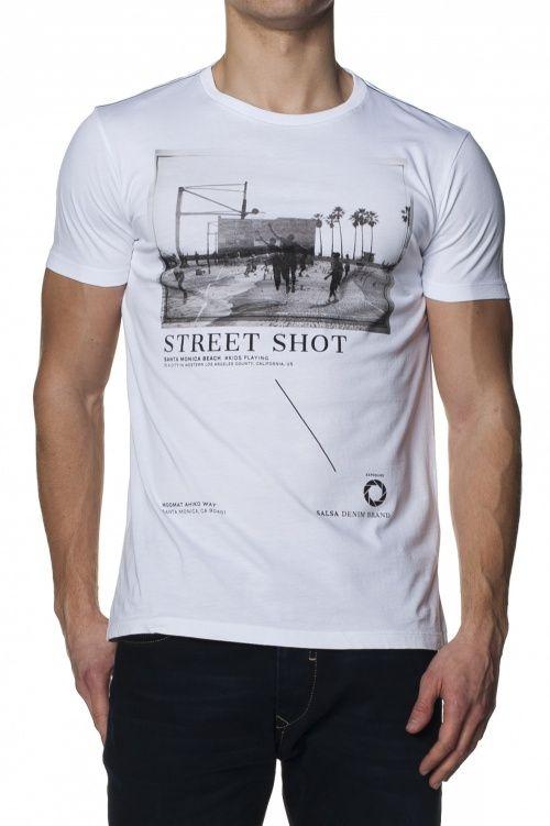 100% AlgodãoT-shirt slim fit de manga curta gráfico frontal