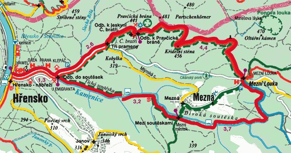 Pravčická brána - Soutesky - České Švýcarsko - Turistické stezky - České Švýcarsko