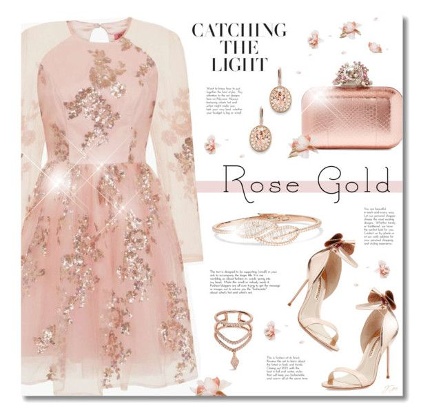 """""""Rose Gold"""" by jgee67 ❤ liked on Polyvore featuring Sophia Webster, Kevin Jewelers, Diane Kordas, Jimmy Choo, Chi Chi, Anita Ko, polyvoreblogger, rosegold and polyvoreeditorial"""