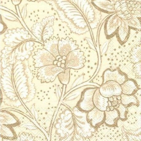Servilleta Century Bloom Cream paquete de 20 unidades. Paquete de 20 servilletas para decoupage de gran calidad. La servilleta abierta mide 33 x33 cm. Motivos de flores sobre fondo color crema.