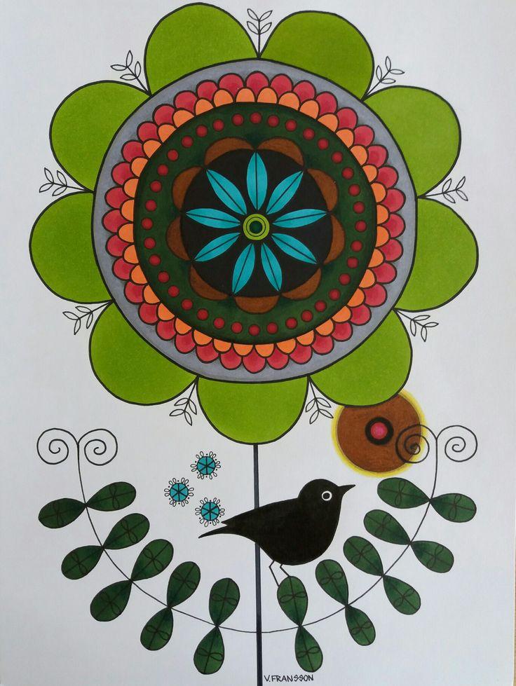 Green flower and bird in ink  and colour pencils. A4 Tecknad blomma och fågel i tusch och färgpennor. Luminance. Polycromos