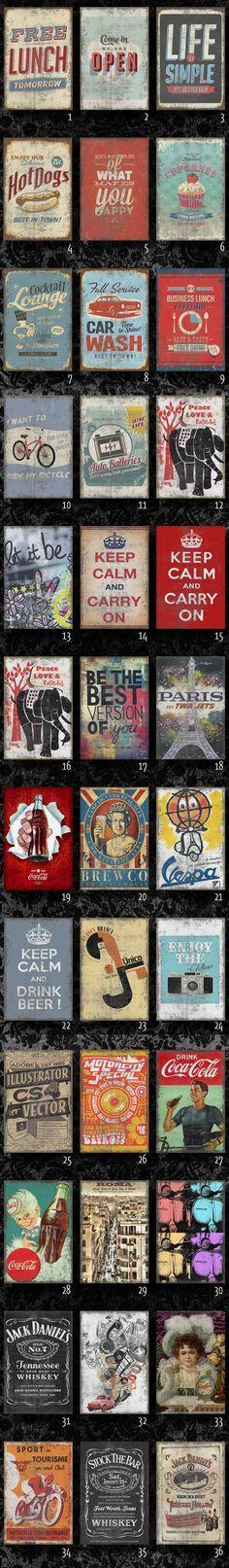 (6) Chapas Vintage Retro Impresas. No Cuadros!diseños Exclusivos - $ 90,00 en MercadoLibre TAMAÑO 33 X 50