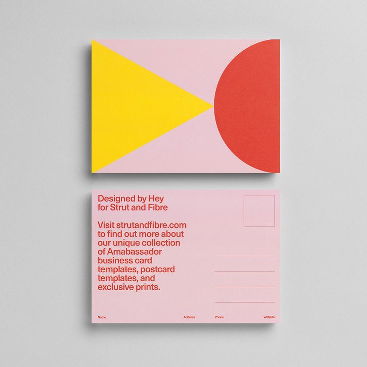 Postcard template designed by Hey Studio for Strut and Fibre's Ambassador Collection.