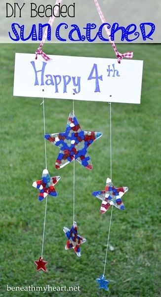 DIY Bead Patriotic Red, White & Blue Star  Suncatchers for the 4th of July - so cute!