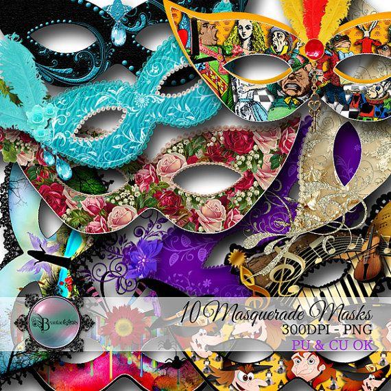 Masquerade Venetian Masks Clip Art Digital Set by Beauladigitals