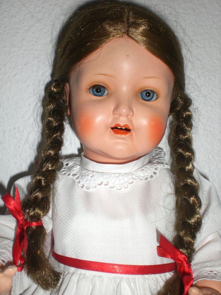 Alte Schildkrötpuppe m. Haaren u. Schlafaugen, 50 iger Jahre in Antiquitäten & Kunst, Antikspielzeug, Puppen & Zubehör   eBay