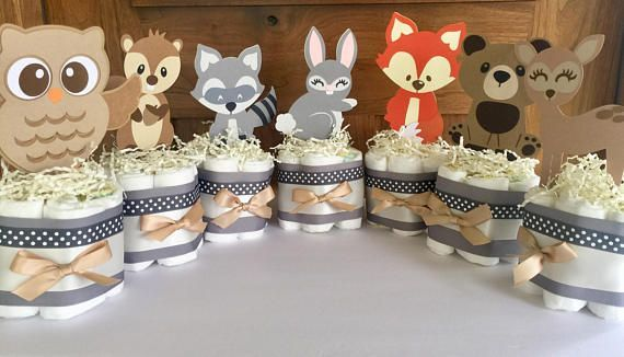 Woodland Table Decorations, Woodland Forest Diaper Cakes, Forest Baby Shower Cen…
