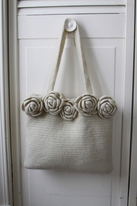 Felted Roses Wool Bag