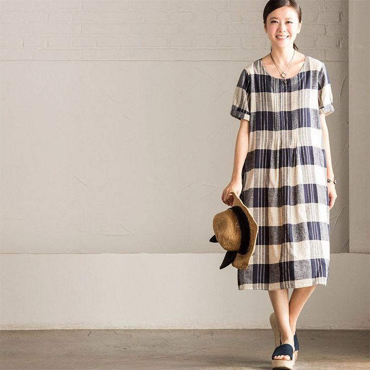 Casual Style Lovely Grid Linen Long Dress Q7183A