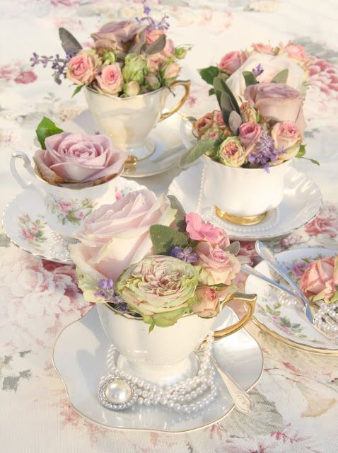 Vintage Tea Cups with Pretty Florals & Jewels as Sweet Little Centerpiece Ideas for a Tea Party