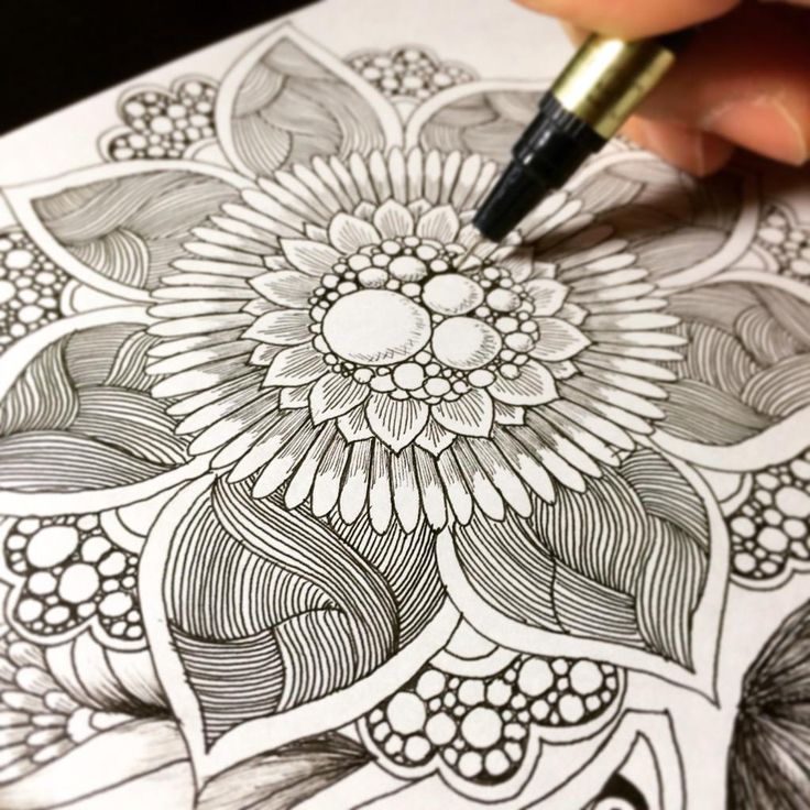 Zentangle doodle / botanical design step by step ボタニカル ゼンタングル by Noah's ART