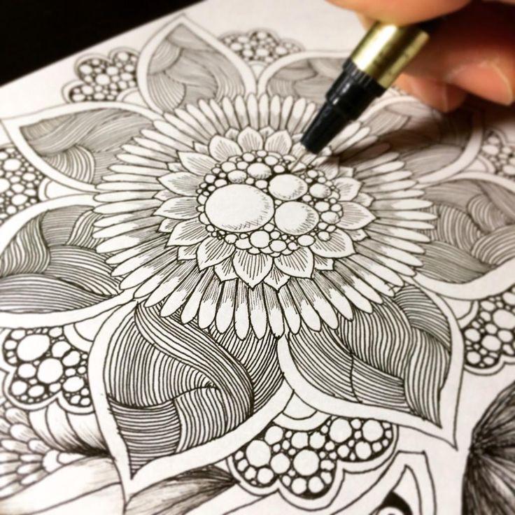 Zentangle doodle / botanical design step by step ボタニカル ゼンタングル by Noah's ART