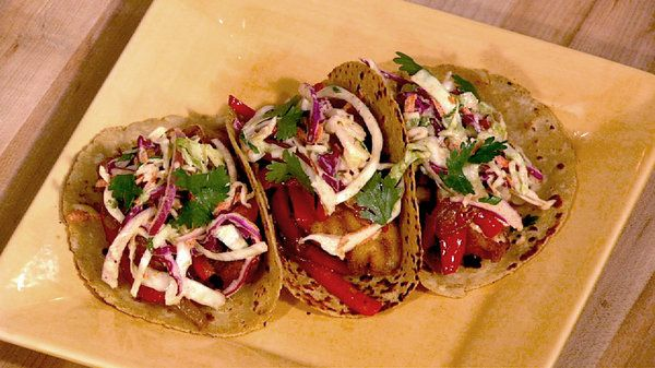The chew recipe daphne oz 39 s fish tacos with creamy for Fish tacos cabbage