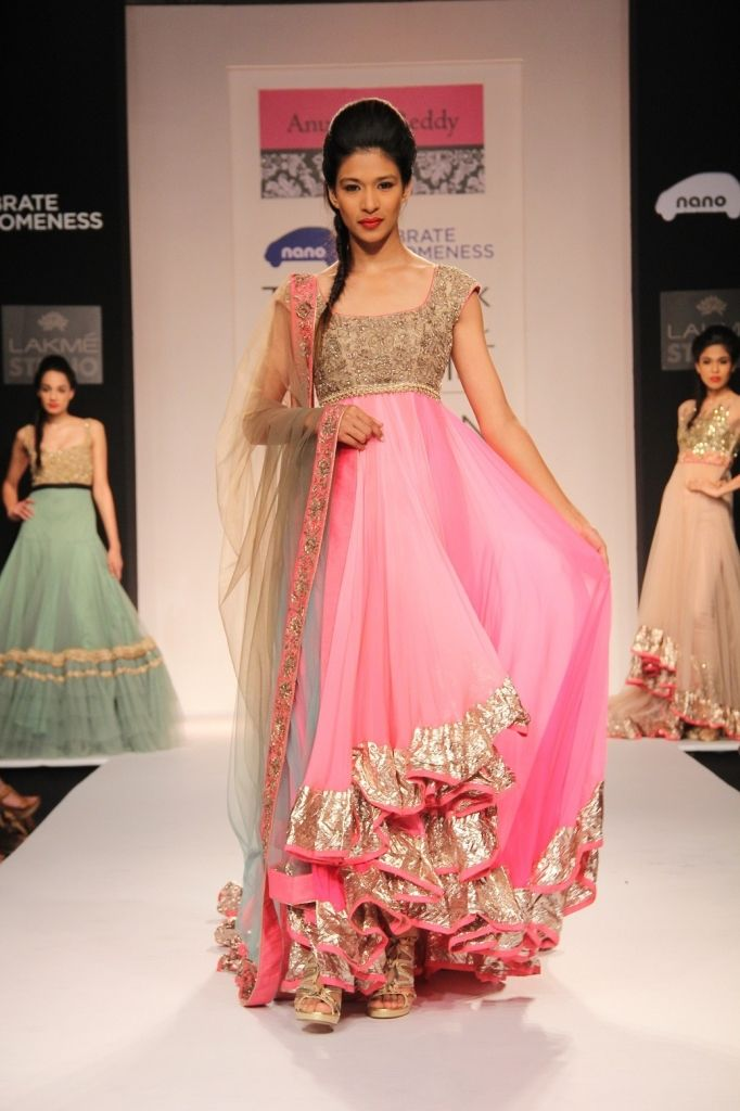 Anushree Reddy And Astha Narang designed pink and gold bordered anarkali at Lakmé Fashion Week Winter/Festive 2013