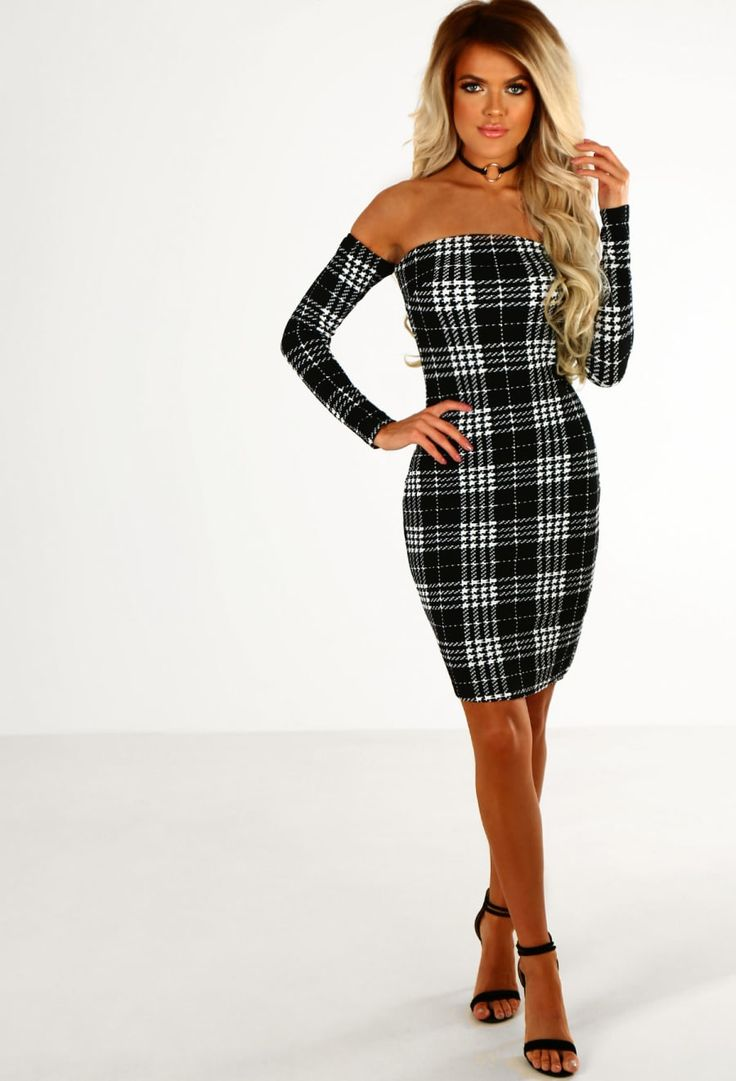 Girl Crush Monochrome Check Long Sleeve Bardot Mini Dress