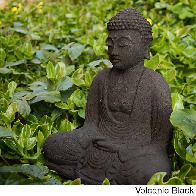 This Black Garden Buddha Sculpture Depicts The Enlightened Buddha Sitting  In Meditation, And Is Made From White Sandstone.