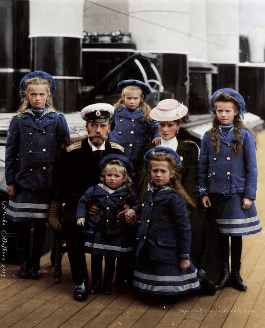 "As tragic as they were all beautiful: The last Imperial family of Russia abord the yacht ""Polar Star"", 1906. Grand Duchesses Olga, Anastasia and Tatiana behind their parents, Tsar Nicholas II and Empress Alexandra, whilst Tsarevich Alexei and Grand Duchess Maria pose in the front.  Imperial Russia"