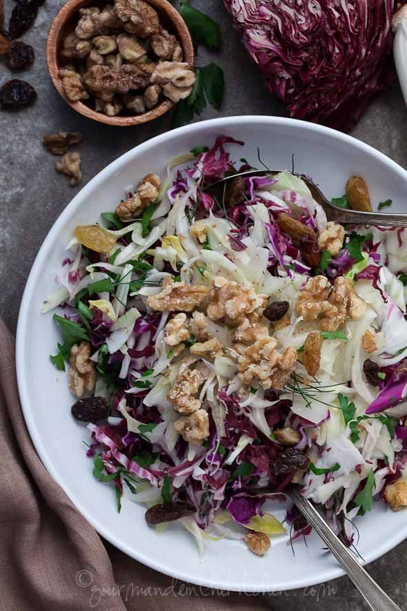 Red Cabbage Radicchio and Endive Salad | A Winter Salad from Gourmande in the Kitchen