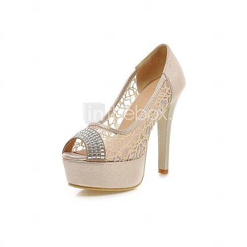 Zapatos dorados de punta abierta formales para mujer 6oKiHfCF5v