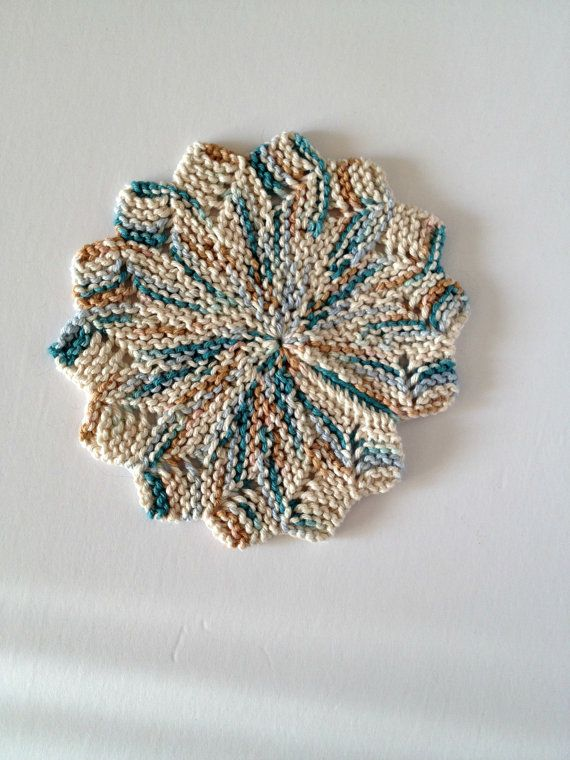 Hand Knit, Star Shaped, 100% Cotton Dishcloth/Trivet/Potholder (Tans, Blues & Cream)