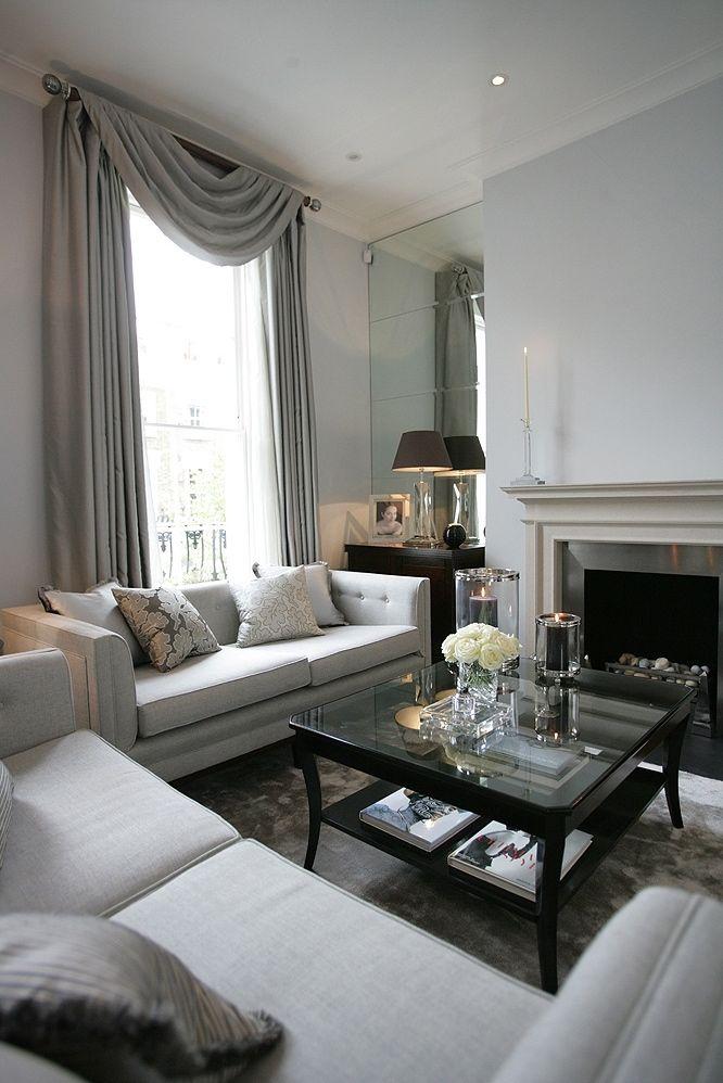 elegant soft grey London living room I designed