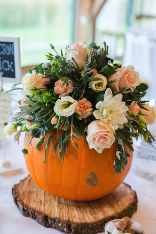 Wedding pumpkin table centre. Love this flower-filled pumpkin! Jo Hastings Photography #autumnwedding
