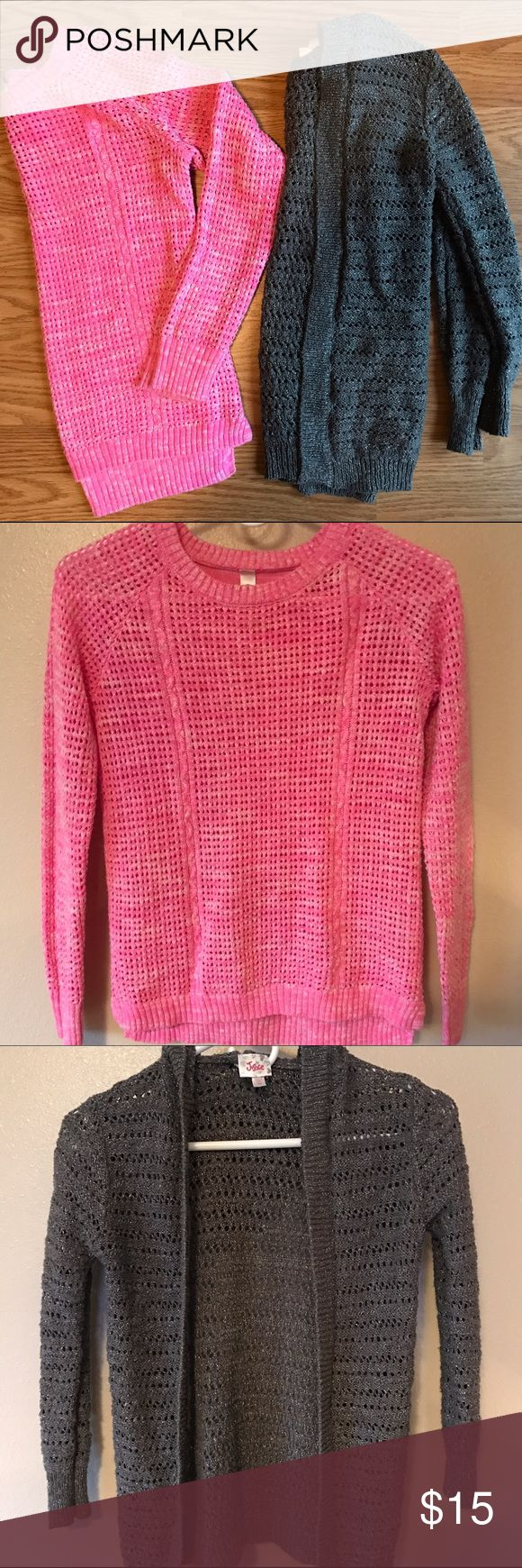 Girls Sweater Bundle Two knit sweaters. Pink sweater is pullover style and size 10/12 Cherokee brand. The gray sweater is hooded cardigan style and size 10 Justice brand. Both gently used but definitely good condition! Justice Shirts & Tops Sweaters
