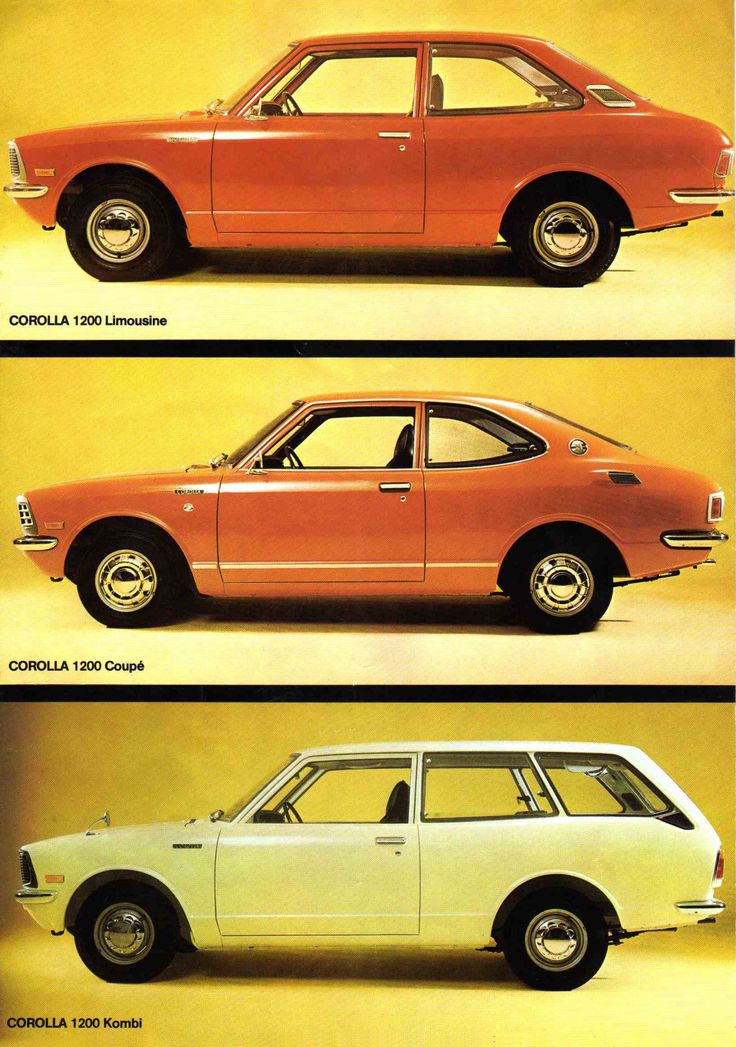 Vintage pastel-colored Toyotas. Perfect for those (very) early '60s drive-through modular home kitchens.