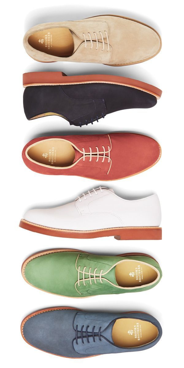 Dressed up or down, Brooks Brothers suede bucks in signature red brick soles lend color and dandy appeal to any summer outfit. | Raddest Men's Fashion Looks On The Internet: http://www.raddestcribs.net