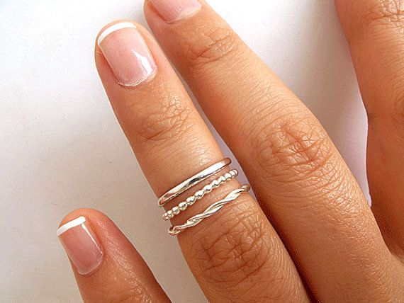 3 Knuckle Rings  Sterling Silver Knuckle Rings by PRECIOUSWINGSCOM, $30.00