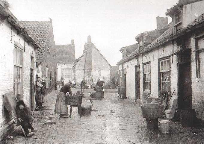Oude foto van het leven in Scheveningen