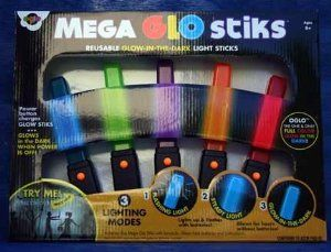 "Oglo Mega Glo Stick Reusable Glow in the Dark Light Sticks - Halloween by Oglo. $24.99. Oglo uses the first and only glow-in-the-dark technology capable of making lots of colors glow in the dark! And not only will Oglo products glow in the dark, but unlike other products of the past, Oglo colors glow SUPER BRIGHT and glow for hours!!! Oglo Mega Glo Stiks will glow with or without batteries. Batteries are included so you can use as a ""light"" or a ""flashing light...."