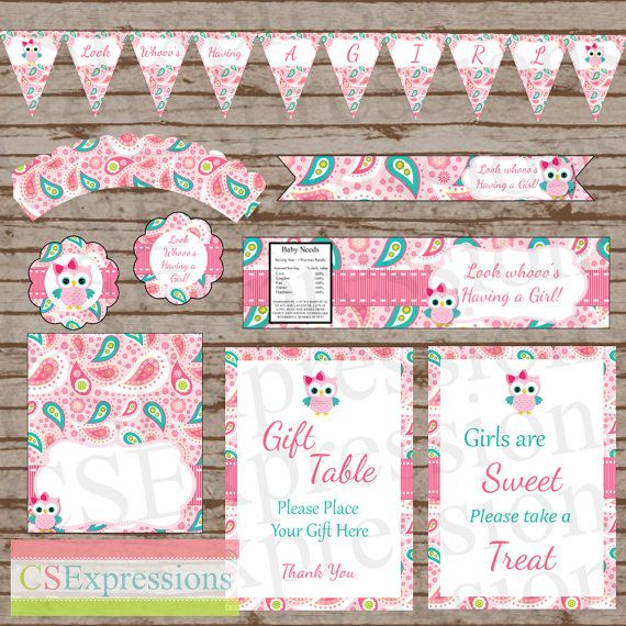 Pink paisley owl baby shower printable party package for Baby shower decoration packages